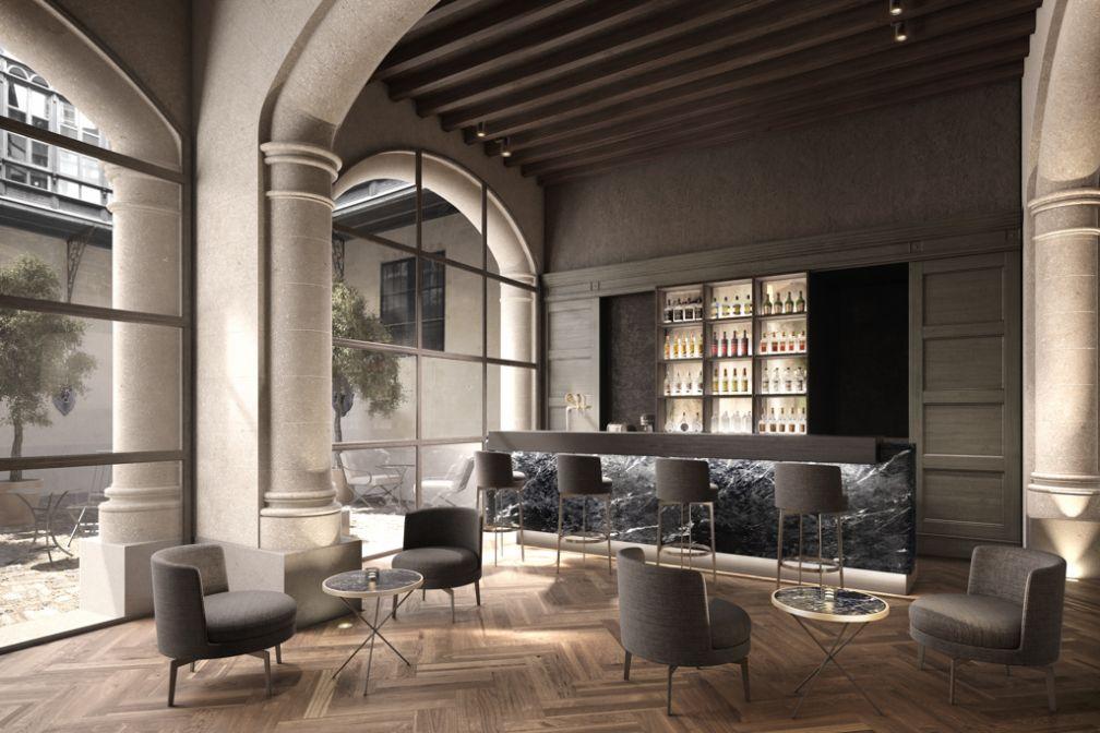 Le bar du Sant Francesc Hotel Singular à Palma, un havre de paix et d'élégance contemporaine