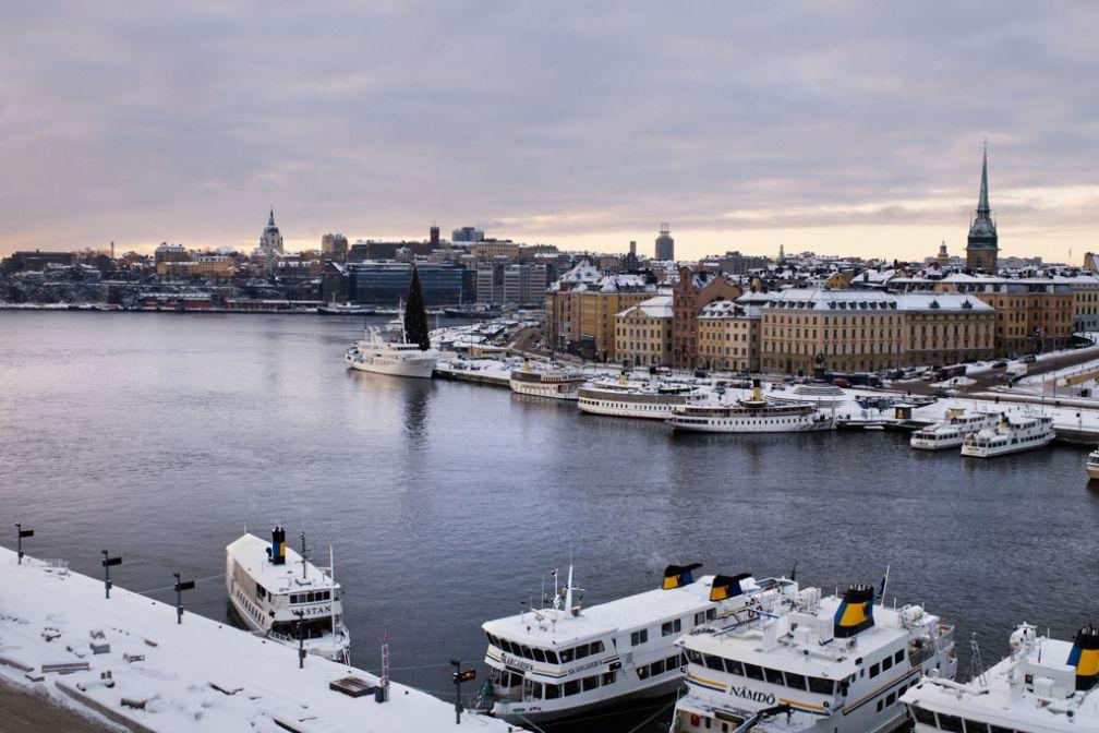 Vue sur le port et la vieille ville (Gamla Stan) depuis le Grand Hôtel pendant l'hiver. | © Grand Hôtel Stockholm
