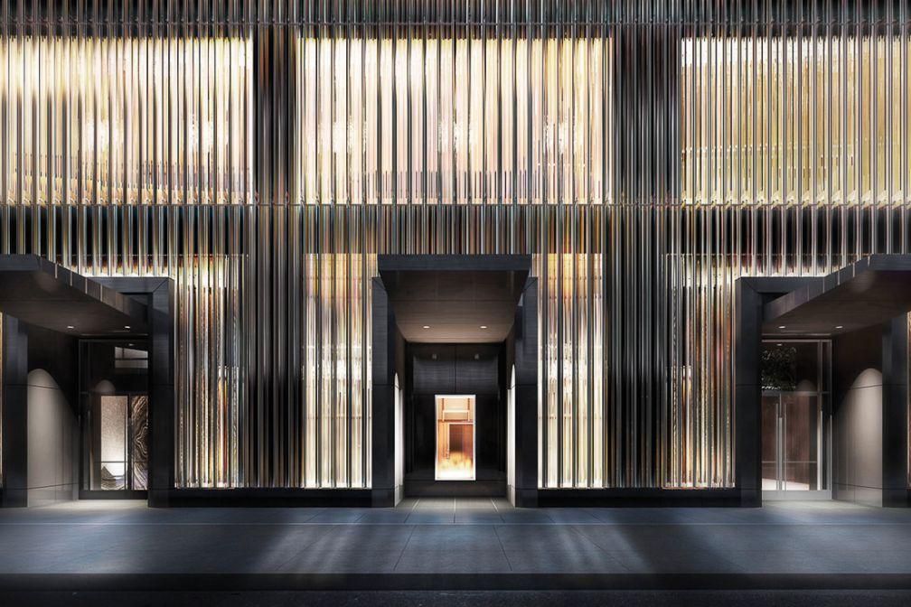 L'entrée du futur Baccarat Hotel, première incursion de la prestigieuse maison de cristal dans l'hôtellerie de luxe