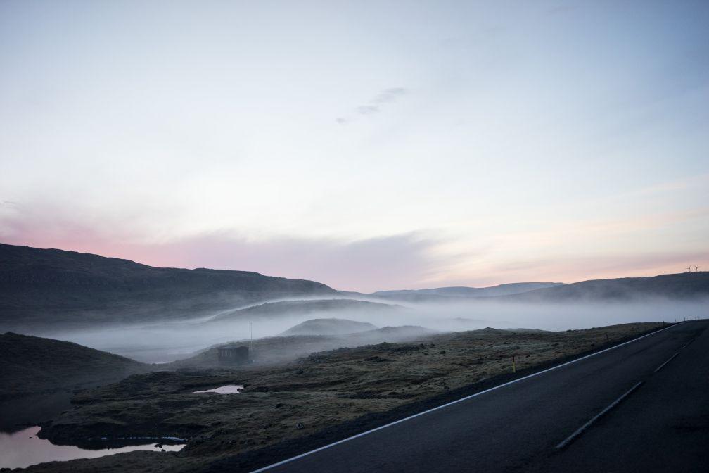 Brouillard au bord de la route.