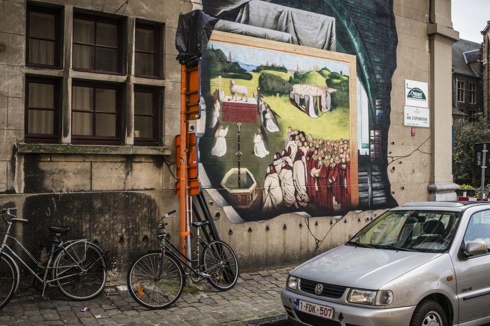 La version Street Art de l'agneau mystique.  © VisitGent