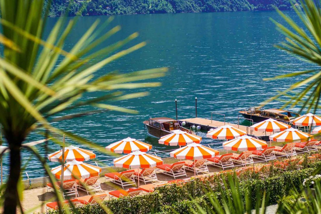 La T Beach de l'hôtel au bord du lac avec sa piscine © Grand Hotel Tremezzo