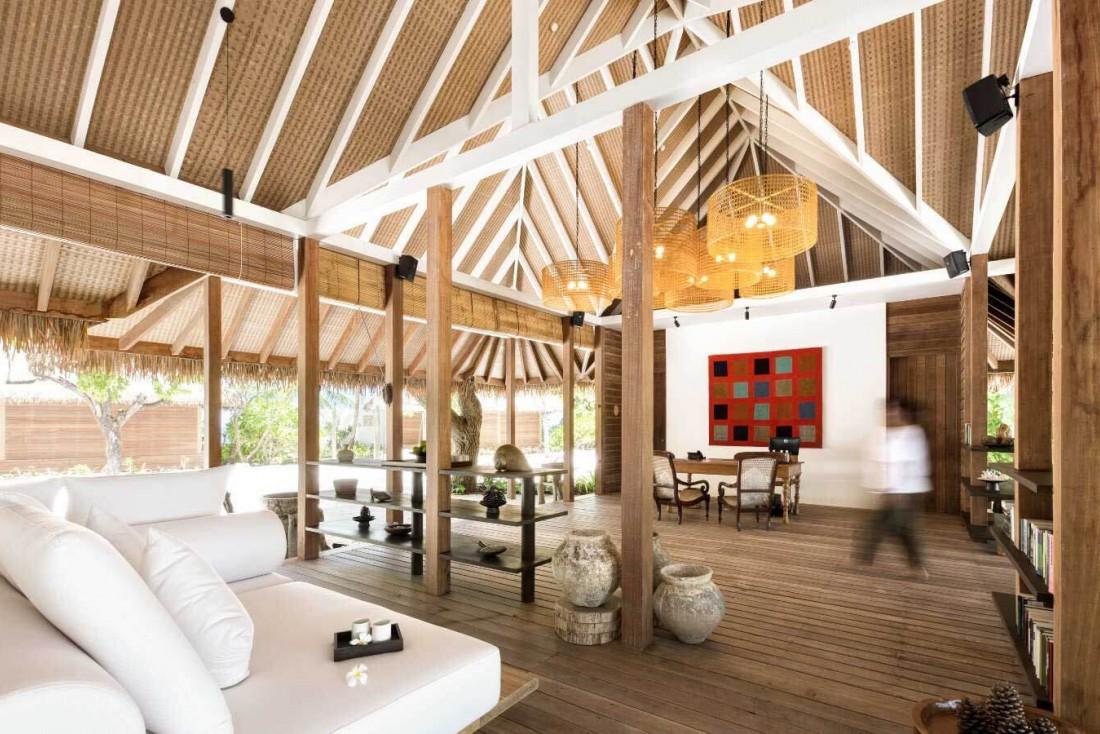 La réception design du spa Shambhala Retreat à l'hôtel COMO Cocoa Island © DR
