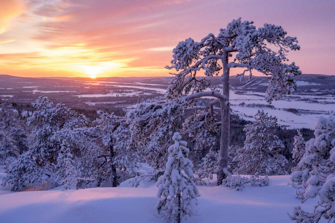 La lumière évanescente du soleil pendant l'hiver arctique transforme les paysages de minute en minute © Matti Björninen - VisitFinland