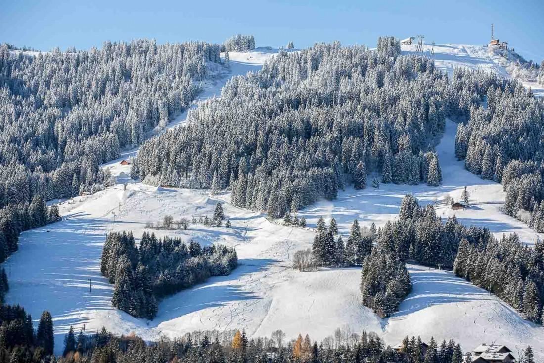 Vue sur les pistes du Mont d'Arbois à Megève © Four Seasons