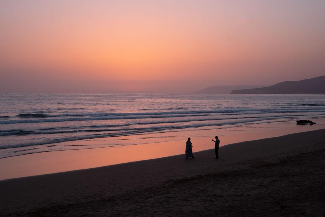 Coucher de soleil sur la plage du Fairmont Taghazout Bay © Jean-François Guggenheim