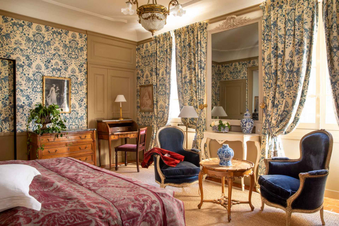 Les chambres de La Mirande sont habillée d'indiennes ou de toiles de Jouy historiques © Christophe Bielsa