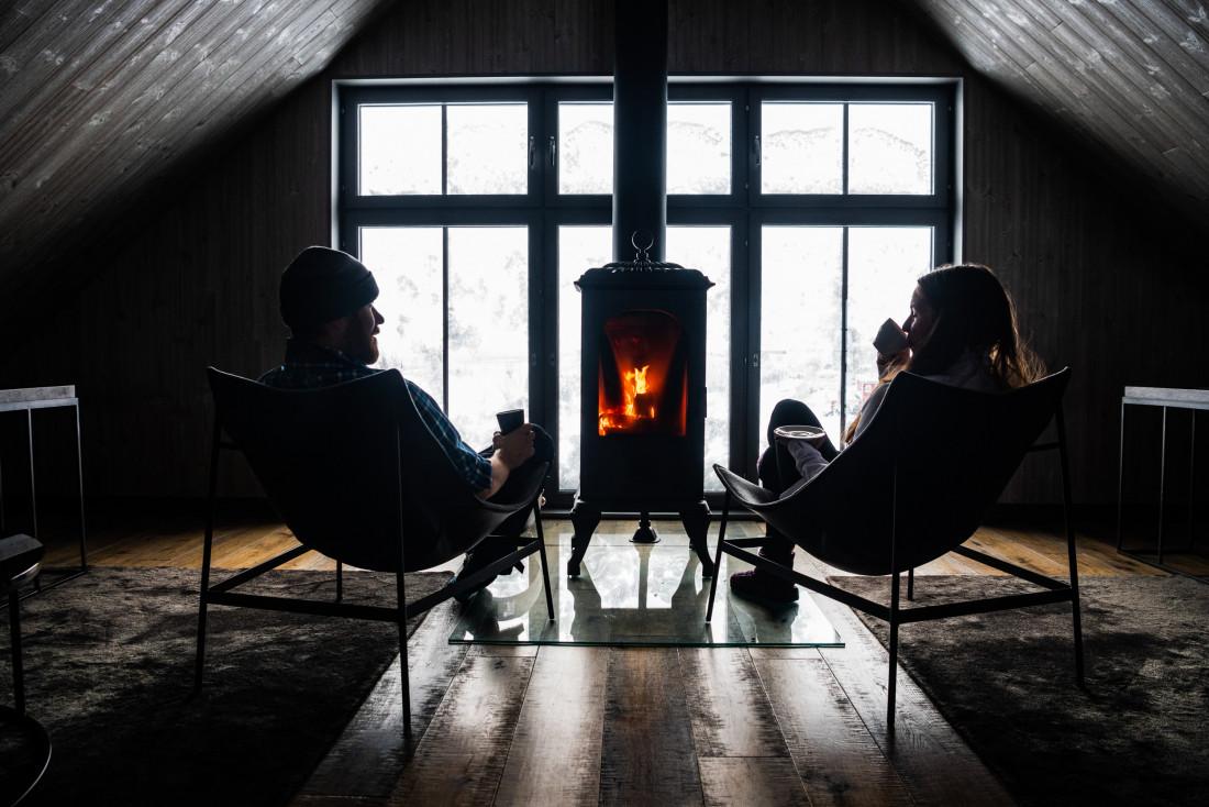 Cheminée dans le lounge. © Mattias Fredriksson