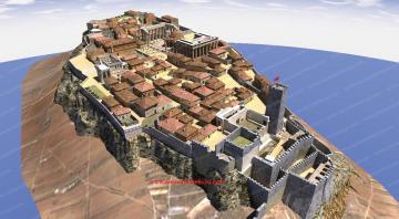 Reconstruction de l'Acropole à l'époque ottomane <u>après</u> l'explosion de 1687.  | Amabilité de Dimitrios Tsalkanis ancientathens3d.com