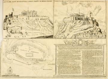 L'explosion du Parthénon illustrée dans <i> Atene Attica </i> un ouvrage publié en 1707.