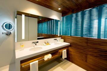 Autre réussite : les salles de bain des chambres, spacieuses et fonctionnelles © Grand Hyatt Playa del Carmen