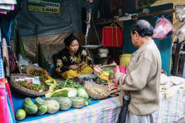 Le marché local, où l'on trouve les légumes importés de la plaine | © Marion Brun