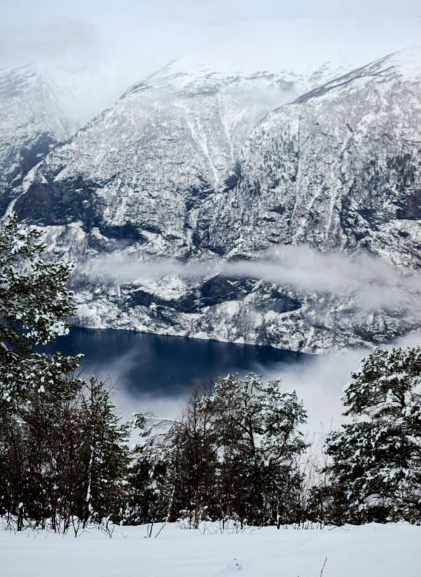 Vue sur l'Aurlandsfjorden pendant la promenade en raquettes © YONDER.fr