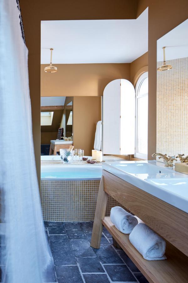 Grand Hôtel du Soleil d'Or, Megève - Salle de bain. © Gaëlle Le Boulicaut