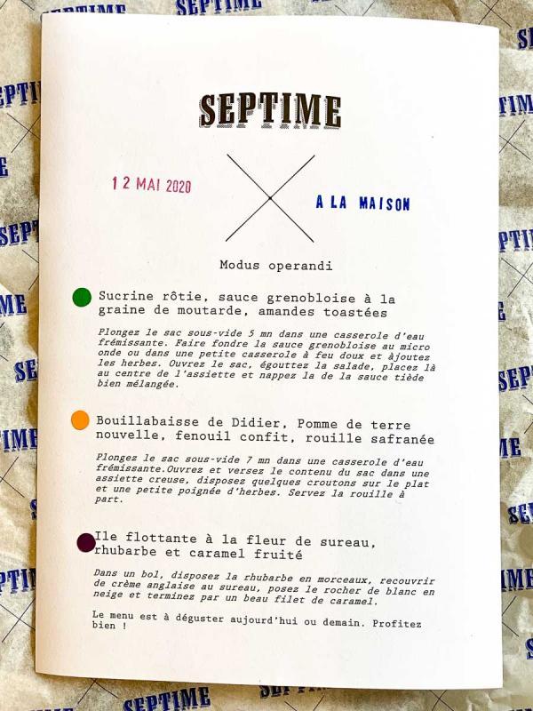 Septime à la maison – La cuisine de Septime à emporter © EL / YONDER.fr