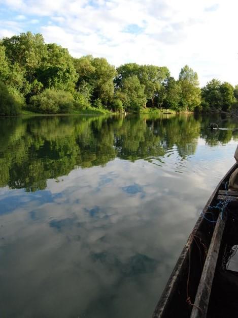Emmanuel Favin manœuvre sa barque le long de la Seine entre une faune et une flore foisonnantes © CDT Aube