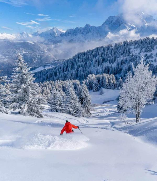 Grands espaces, grand ski, grands moments du sommet du Mont-Joly aux alpages bordés de sapins © Boris Molinier