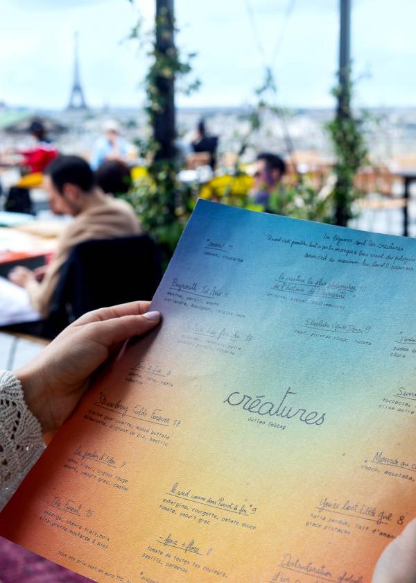 Le menu de Créatures © Benedetta Chiala