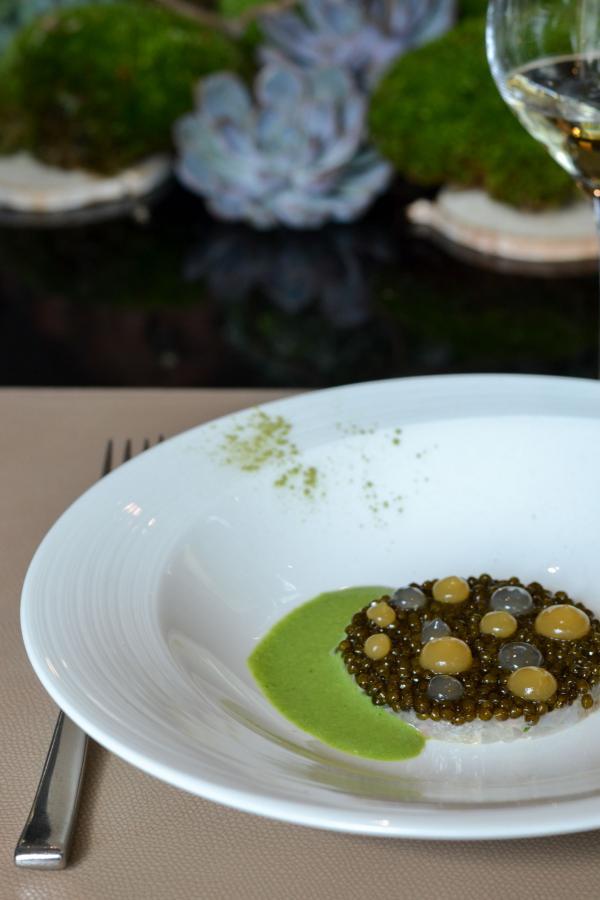 Langoustines zeste d'agrume et Caviar sélection ER vivifié de pamplemousse gentiane et jus de persil © Mélissa Leroux