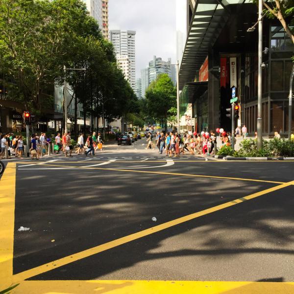 La foule se presse pour traverser la rue sur cette artère, la plus commerçante de la ville | © Yonder.fr