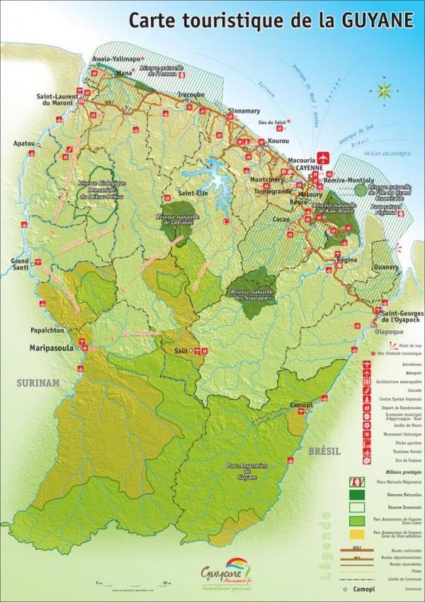 Carte touristique de la Guyane