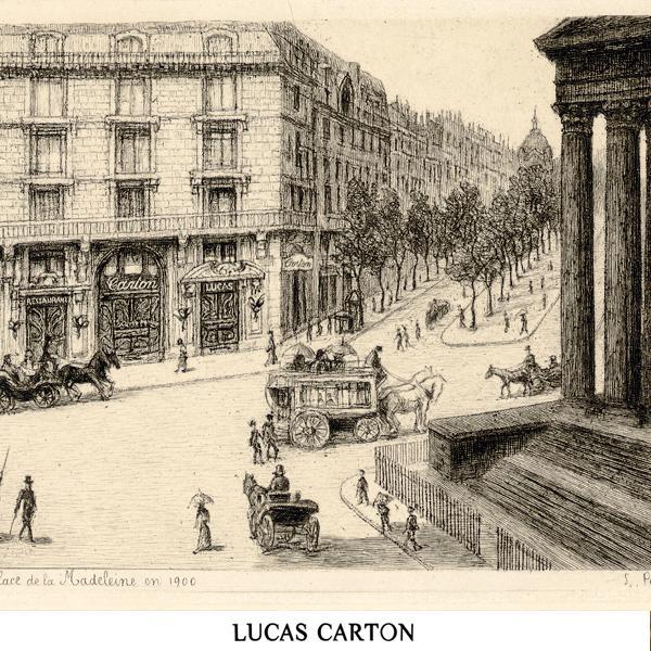 Esquisse du restaurant Lucas Carton, institution gastronomique parisienne, au début du XXème siècle © DR