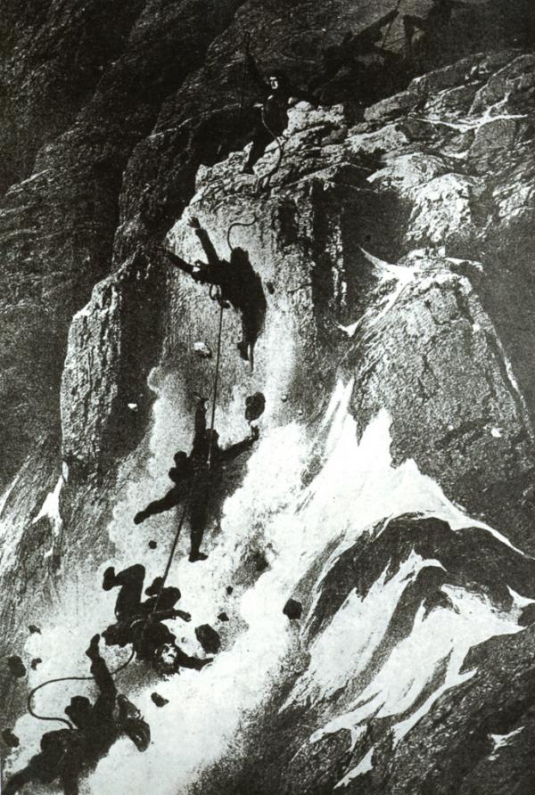 L'accident qui coûta la vie à 4 personnes en redescendant du sommet. Illustration de Gustave Doré.