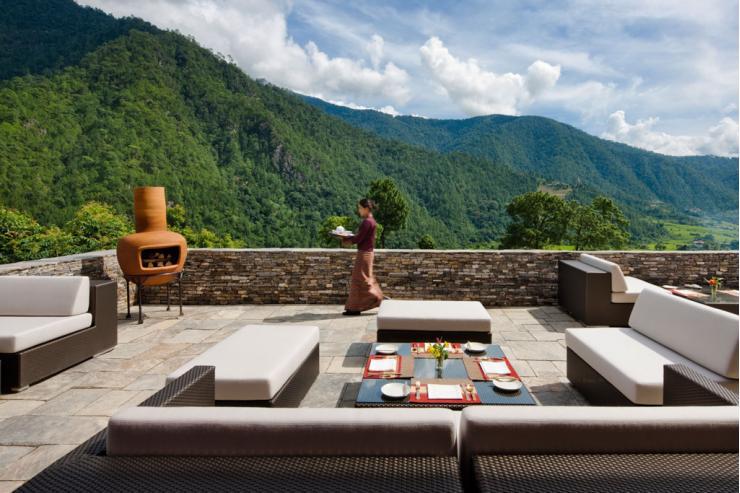 La terrasse du Como Uma Punakha, un des deux