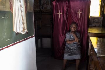 Dans la chapelle Saint-Georges sur le Lycabette.