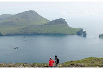 Vue sur le Sørvágsfjørður depuis le sentier postal de Gásadalur.