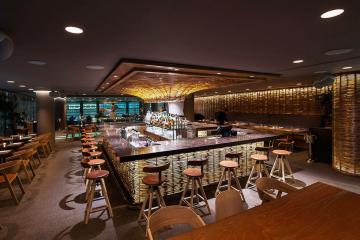 Le bar d'Hydra, restaurant étoilé, situé dans le centre culturel Onassis. | © Hytra
