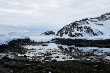 Cette portion d'eau libre dans le fjord de Tsaarpagaajik permet aux habitants de pêcher les moules.