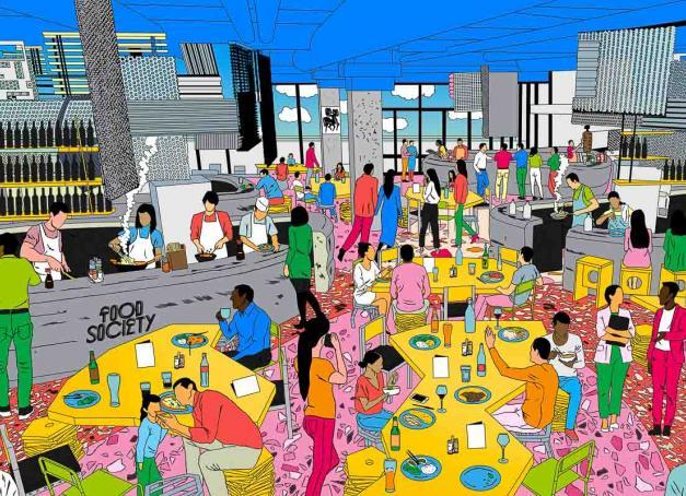 Avec 11 kiosques de restauration, un bar et une terrasse répartis sur plus de 3,000 mètres carrés, Food Society Lyon est le premier